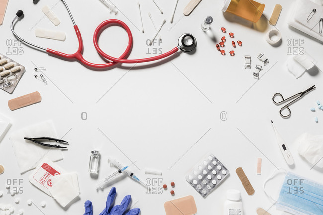 Variety of medical supplies on white background