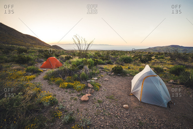 Two tents in the desert during sunrise in Big Bend National Park