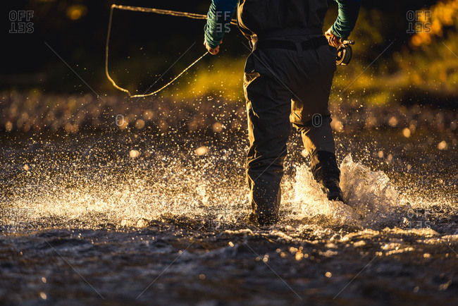 Fly-fisherman wading through river in late evening light
