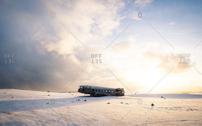 Iceland Solheimasandur DC-13 Plane Crash during sunrise in winter