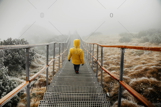 Cinematic Scene of a Person Walking Down the Stairs in the Mountains