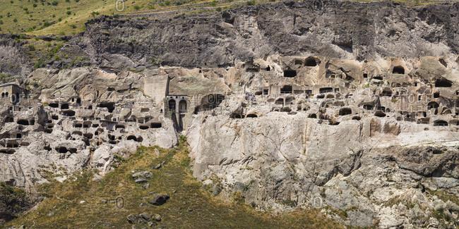 Cave monasteries at Vardzia during sunny day, Georgia