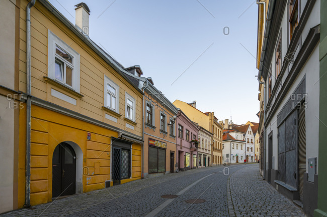 Loket, Karlovy Vary Region, Czechia - August 24, 2020: Empty street in Loket at dawn, Loket, Sokolov District, Karlovy Vary Region, Bohemia, Czech Republic