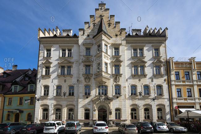 Loket, Karlovy Vary Region, Czechia - August 24, 2020: Residential building at Marketplace square in Loket, Sokolov District, Karlovy Vary Region, Bohemia, Czech Republic