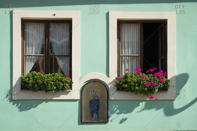 Detail of windows, Loket, Sokolov District, Karlovy Vary Region, Bohemia, Czech Republic