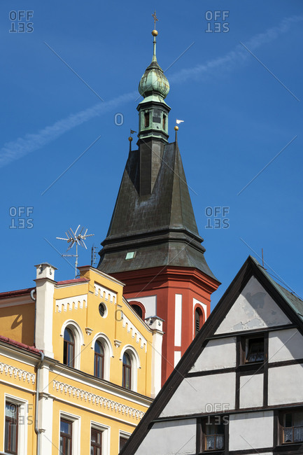 Low angle view of tops of houses at Marketplace square in Loket, Sokolov District, Karlovy Vary Region, Bohemia, Czech Republic