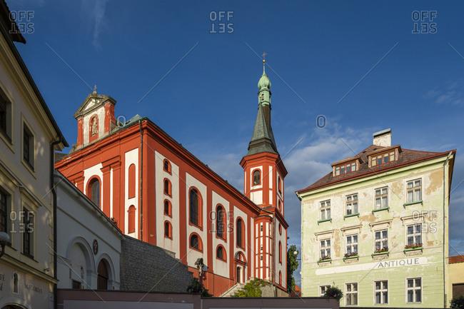 Loket, Karlovy Vary Region, Czechia - August 24, 2020: Low angle view of St. Wenceslas Church, Loket, Sokolov District, Karlovy Vary Region, Bohemia, Czech Republic