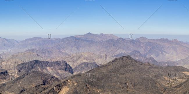 Scenic view of Al Hajar Mountains near Jebel Shams Canyon, Oman