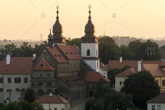 St. Procopius Basilica at sunset, UNESCO, Trebic, Vysocina Region, Czech Republic