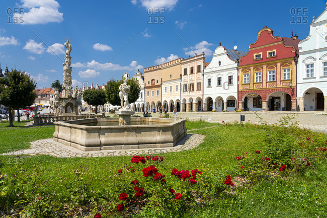 Telc, Vysocina Region, Czechia - August 8, 2020: Horni kasna (Upper fountain) and iconic houses at Zacharias of Hradec Square, UNESCO, Telc, Jihlava District, Vysocina Region, Czech Republic