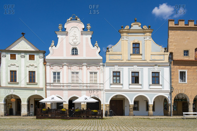 Telc, Vysocina Region, Czechia - August 8, 2020: Restaurant in front of iconic houses with arcades and high gables at Zacharias of Hradec Square, UNESCO, Telc, Vysocina Region, Czech Republic