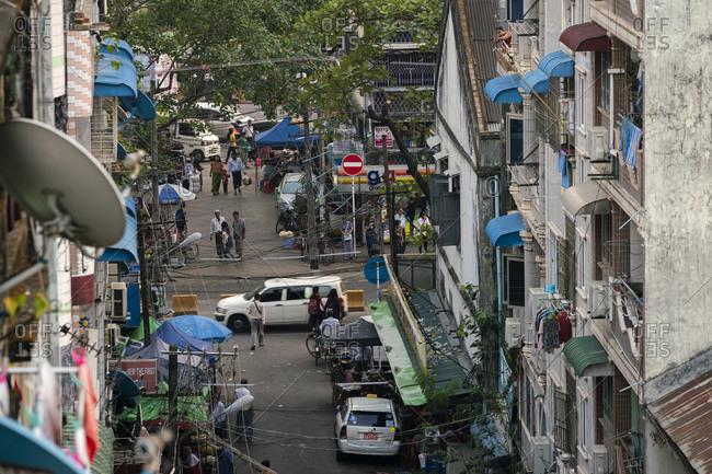 Yangon, Yangon Region, Myanmar (Burma) - January 26, 2019: High angle view of busy street near Chinatown district, Yangon, Myanmar