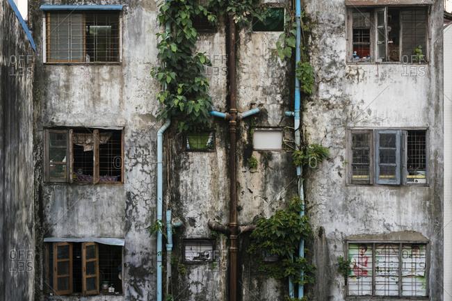 Courtyard of old residential building in Yangon, Myanmar