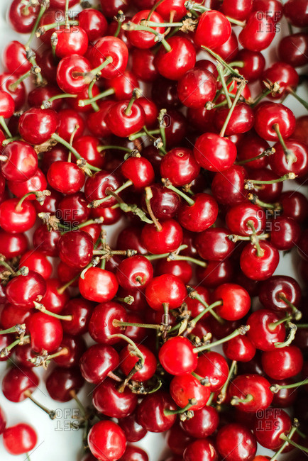 Overhead view of cherries on  table
