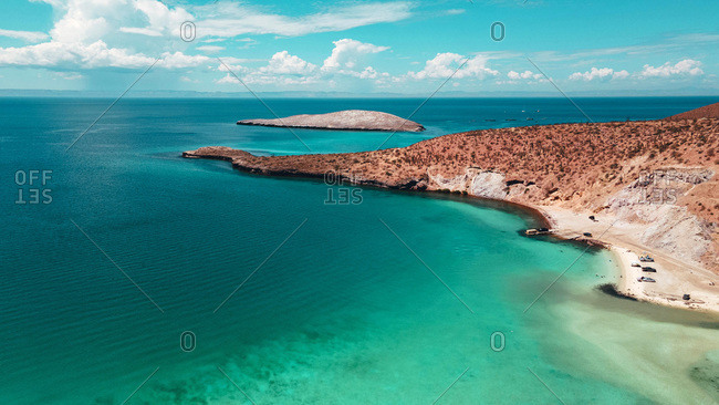 Aerial drone view of tropical blue desert beach, La Paz Mexico