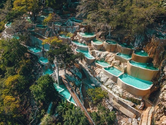 Aerial drone view of incredible mountain hot springs Tolantongo Mexico