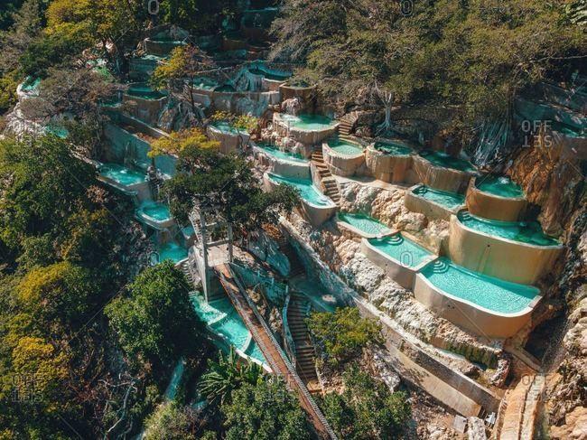 Aerial drone view of incredible mountain hot springs Tolantongo Mexico