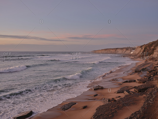 Praia de Sao Sebastiao beach at dusk