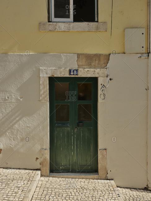 Old green door in Lisbon