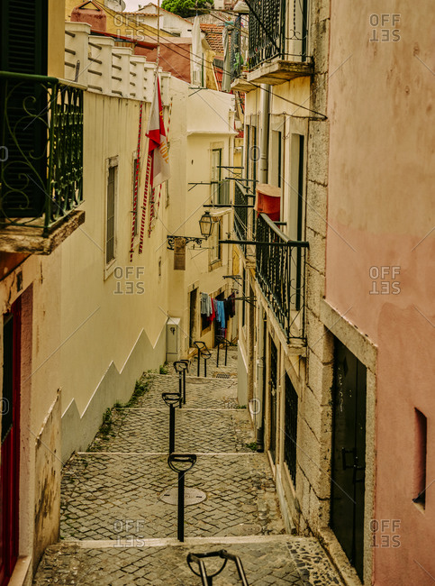Steps lined by buildings in Alfama
