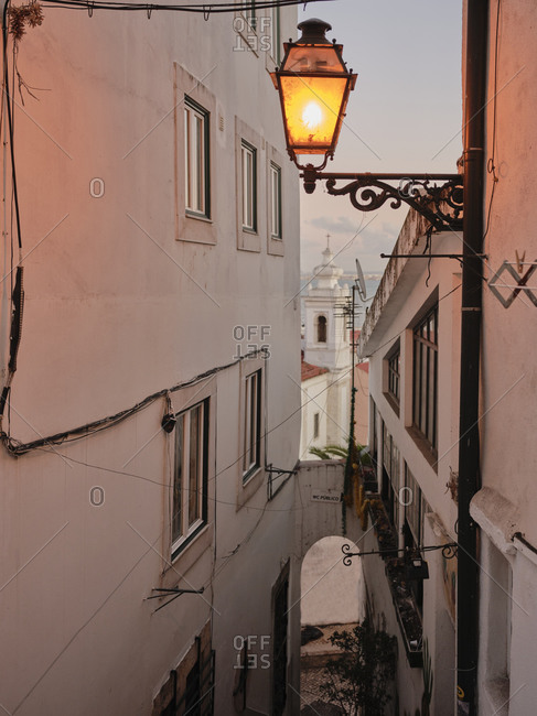 Night time view of Lisbon alley way