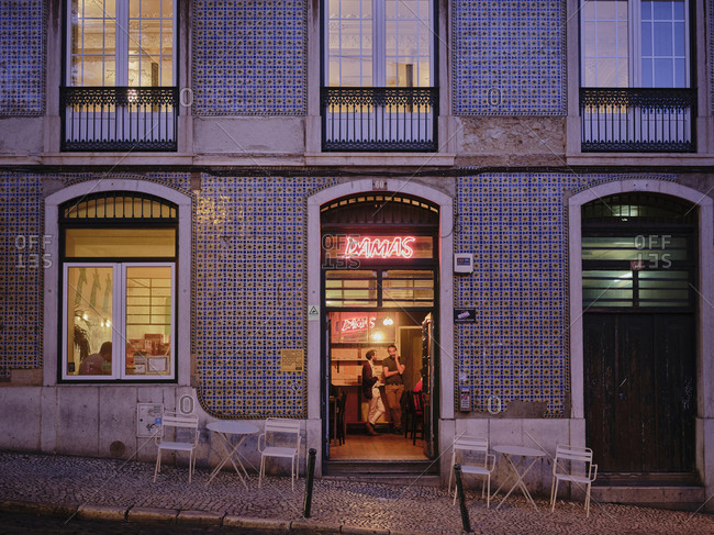 Lisbon, Lisbon, Portugal - October 19, 2019: Lisbon restaurant at night in Graca