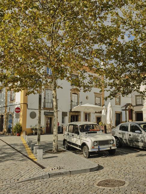 Castelo de Vide, Portalegre, Portugal - October 21, 2019: Old car in town square in Portuguese countryside