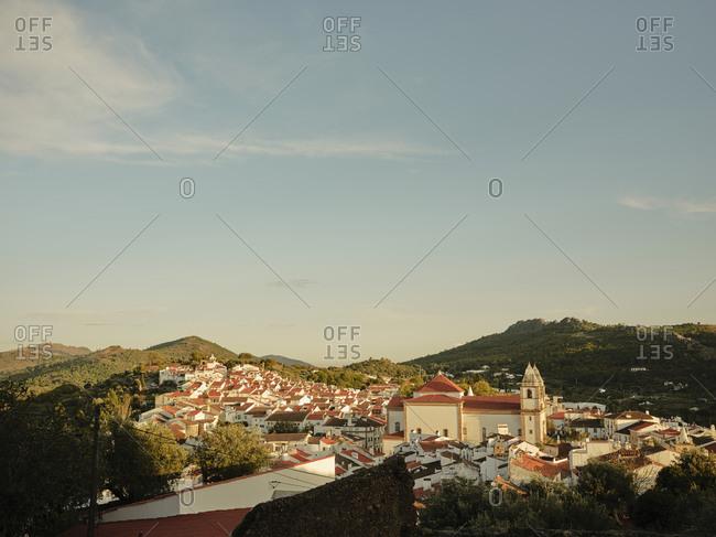 City view of Castelo De Vide at sunset