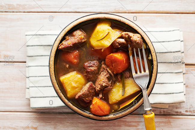 Hearty Beef Stew in Bowl