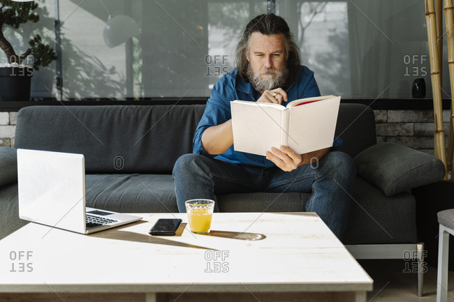 Mature man with a beard reading a book sitting on a sofa in the living