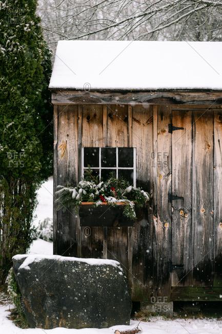 beautiful rustic Christmas window in the winter