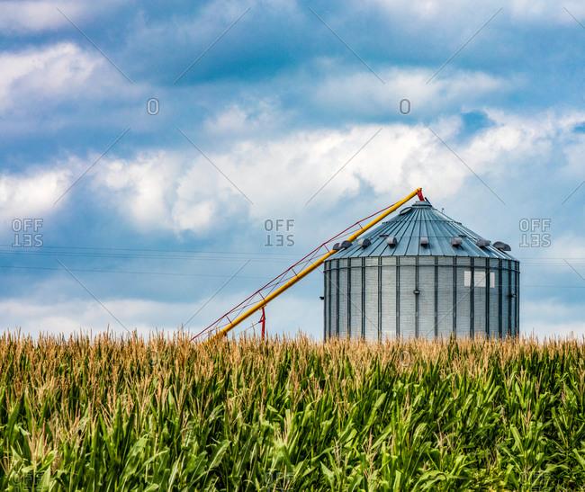Nebraska corn fields with crop storage