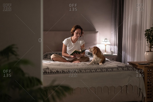 Woman reading book near dog in evening