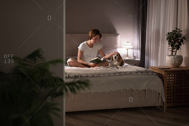 Woman caressing dog and reading book in evening