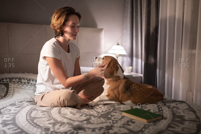 Young female owner playing with dog on bed