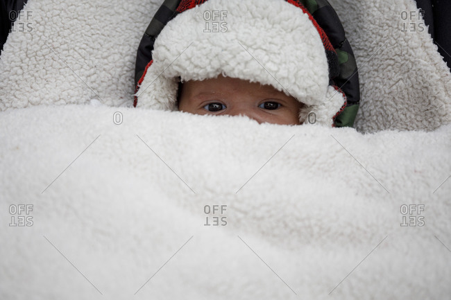 From above of funny cute little baby in warm hat covered with fur looking at camera while lying in stroller in wintertime