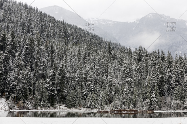 A calm lake with ice is surrounded by mountains and snow covered trees