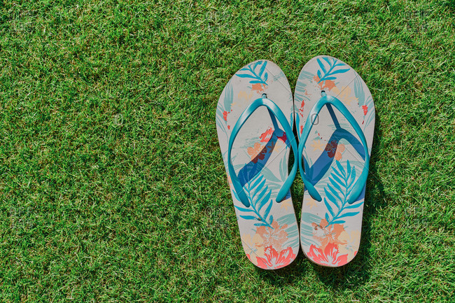 above view pair of multicolored flip-flops on green grass background.