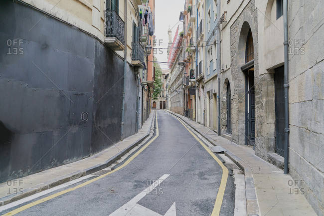 View of San Francisco Street in Pamplona, Spain. Typical street