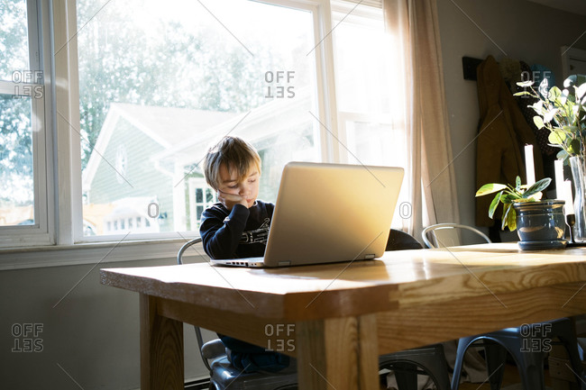 Little boy in morning light sitting at table doing remote school