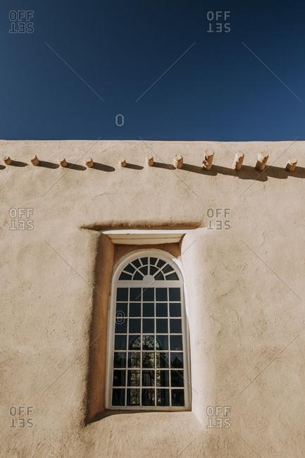 Window and roof beams of San Francisco de Asis Mission Church, Taos NM