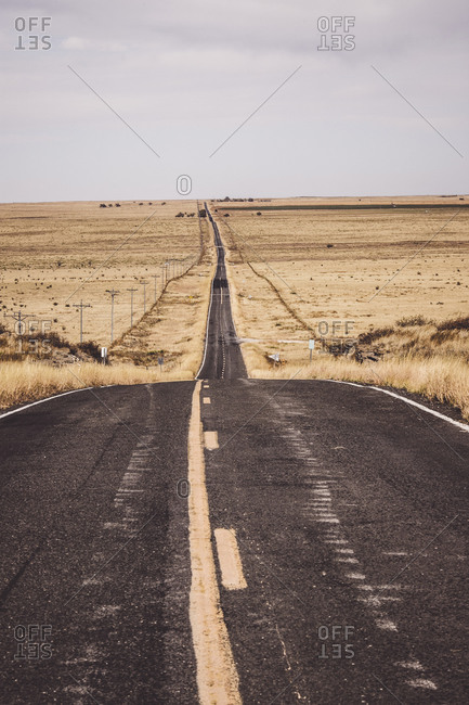 Isolated, lonely road through grassland in northern New Mexico