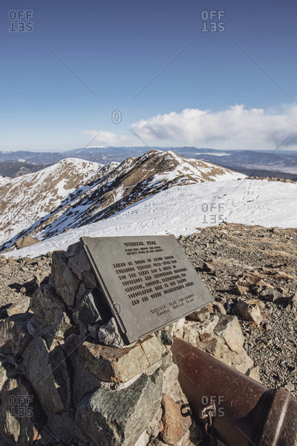 Taos Ski Valley, NM, United States - November 4, 2020: Summit plaque on Wheeler Peak, New Mexico's highest mountain, Taos