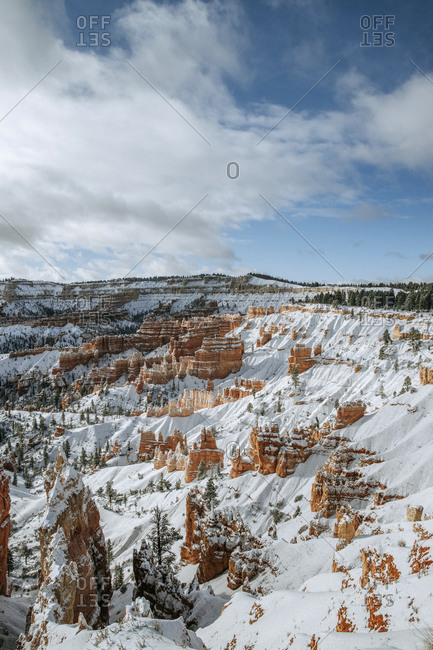 beautiful bryce canyon national park covered in fresh snow, Utah