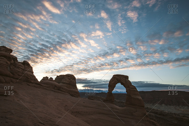 delicate arch in Arches National Park at sunrise near Moab Utah