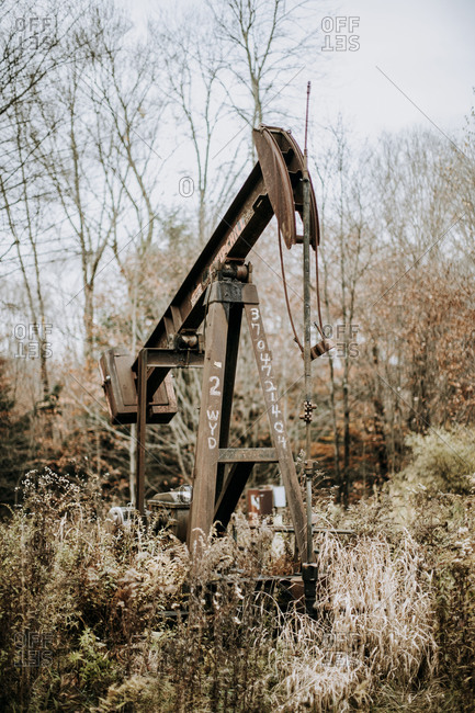 Kane, PA, United States - October 28, 2020: rusty old oil rig in Allegheny National Forest, Pennsylvania