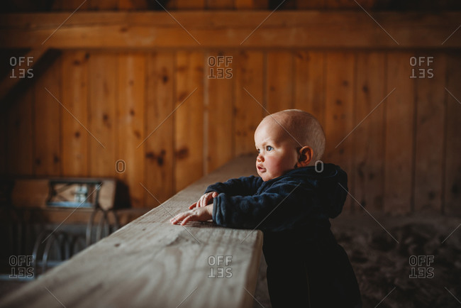Side profile portrait of adorable baby boy with wooden walls farmhouse