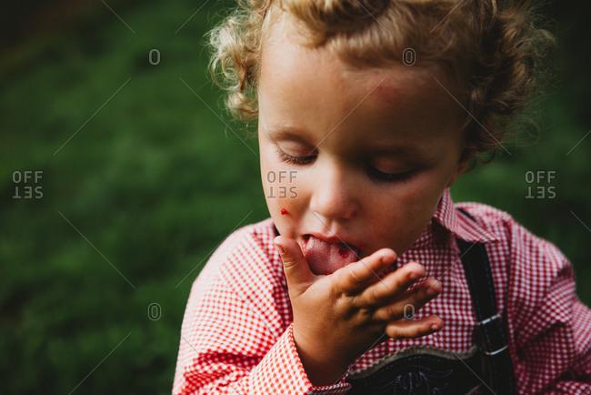 Adorable boy licking hands eating raspberries at farm with Lederhosen
