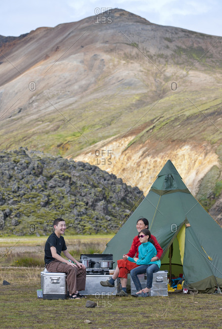 family camping in the highlands of Iceland
