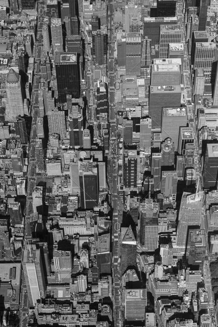 New York, New York - September 19, 2020: An aerial view of Manhattan.